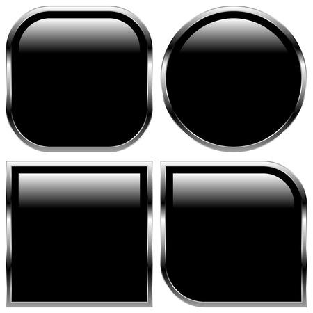 shiny buttons: Stylish black glossy shapes, shiny buttons