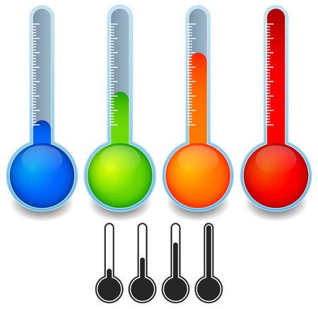 low temperature: Thermometer templates Illustration