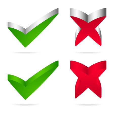 Unique green checkmark, red cross. Vector