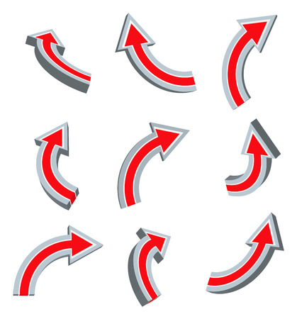 pinpoint: 3d red arrow set