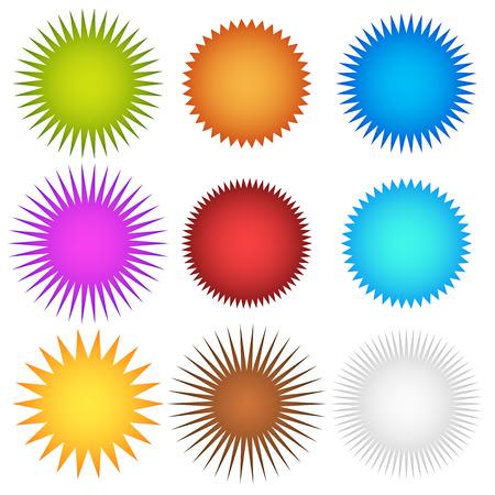 Colorful starburst, flash, badge set. vector graphics Stock Illustratie