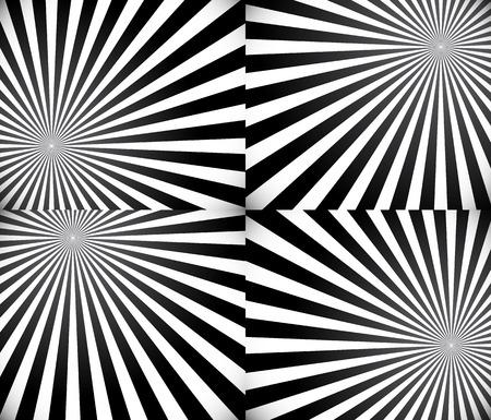 Monochrome rays, starburst background set Vector