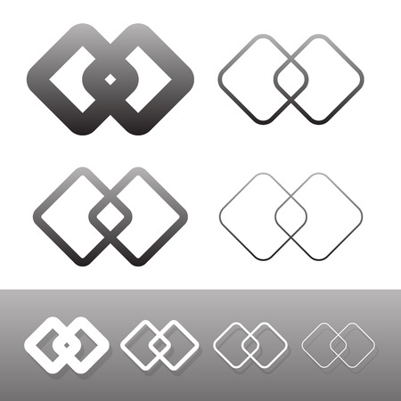 conjoined: Symbolic link icon, symbols. Chain links, connection, combine, compound, intersect, joint concepts. Illustration