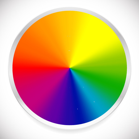 Color wheel, circular, circle color palette with vibrant, vivid colors Vettoriali