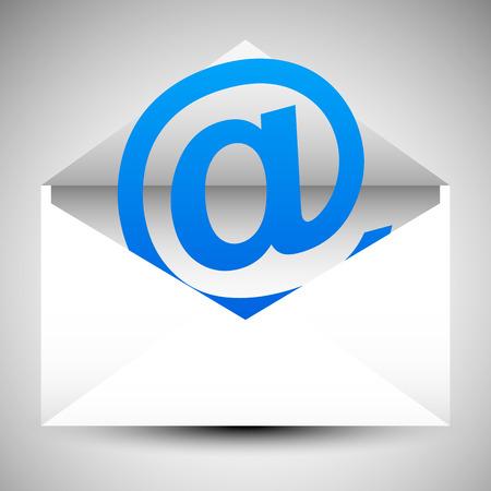 Enveloppe avec au symbole. E-mail, lettre, correspondance, des concepts de soutien Vecteurs