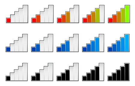 Signal strength indicators or general gauge, measure, level indicators. Vector