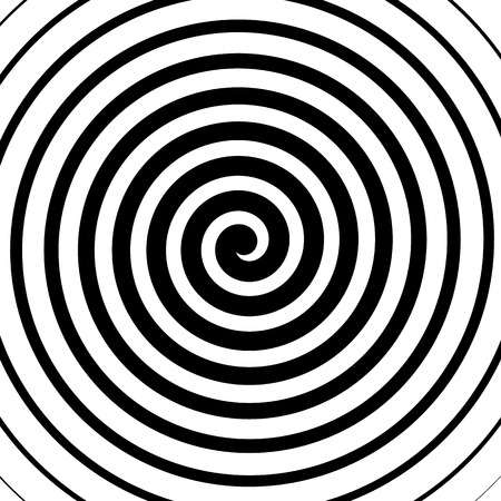 Volute, spiral, concentric lines, circular motion, rotating background Vectores