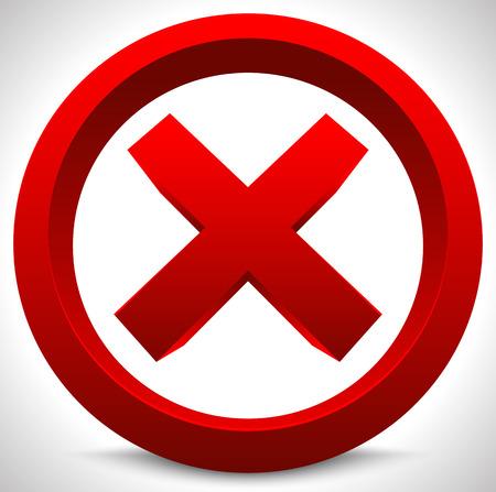negar: Bot�n rojo x. Forma de X, letra, muestra. Ban, salga, salga, negar, no lo quiera, vector restricci�n