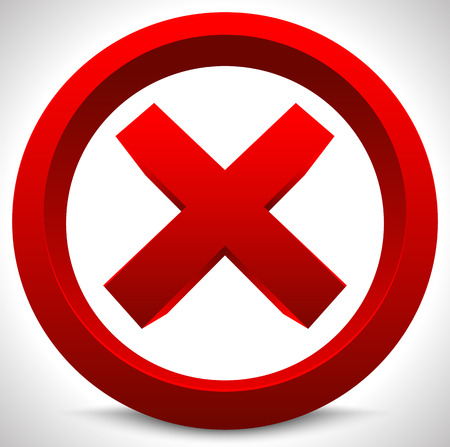Red x button. X shape, letter, sign. Ban, quit, exit, deny, forbid, restriction vector