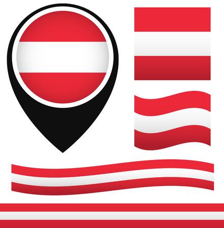 ensign: Austria flag. Austria ensign. Waving Austria flag, Map pin with Austria Flag. Österreich Flagge