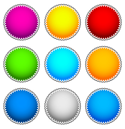 Colorful starburst, flash, badge set. vector graphics Vector