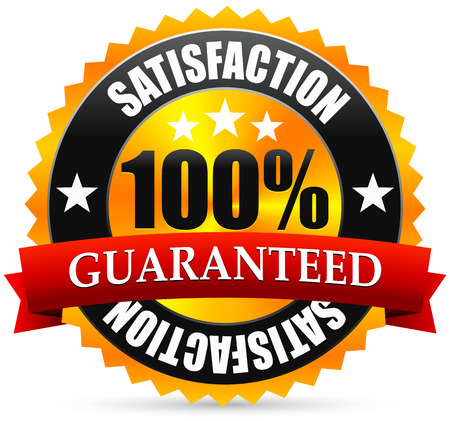 Satisfaction guarantee seal, stamp or badge with red ribbon, banner