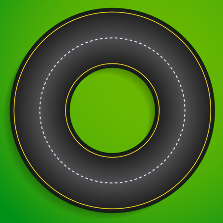 Circular racetrack from above. Karting, racing, track, driving, traffic, transportation concept