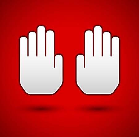 no entrance: Deje de concepto de fondo. Gesto de la mano, con las palmas como parada de la se�alizaci�n. Restricci�n, prohibido, no hay conceptos de ingreso. Vectores
