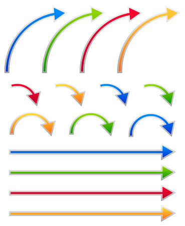 right arrow: Conjuntos de flechas de colores. Flechas rectas y dobladas. Vectores