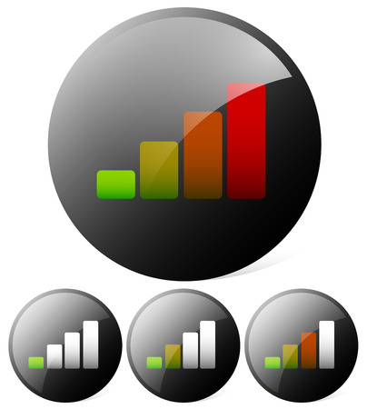 barchart: Growing bar chart, bar graph. Can be used as a signal strength indicator