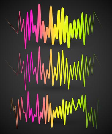 赤から緑のスペクトルを持つ波形、EQ、イコライザー グラフィック