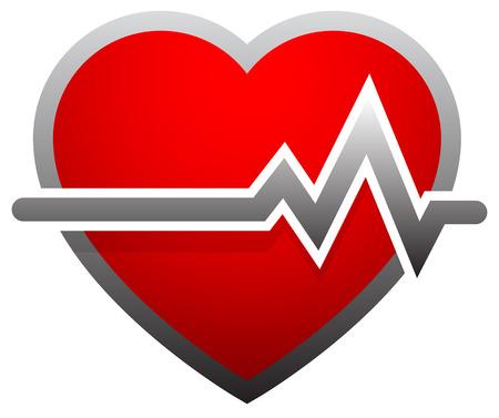 heartattack: Heart with heartbeat, heart rate. ECG, EKG, electrocardiogram, cardiovascular health concepts Illustration
