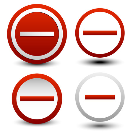 exclude: Set of no entry or minus signs, buttons Illustration
