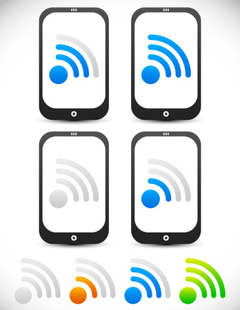 wireless connection: Smartphones with signal strength indicators. Connectivity, wireless connection.