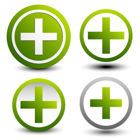 addition: Set of plus signs, symbols. Simple math, firstaid, healthcare, addition or support icons.