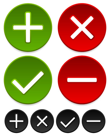 Plus, minus, checkmark and cross graphics Vector
