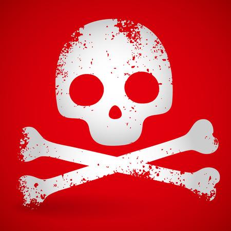 opacity: Grungy carton skull over red. opacity mask Illustration
