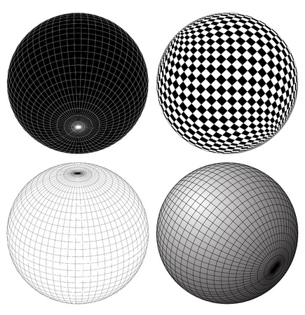 spherule: Gridded, wireframe spheres Illustration