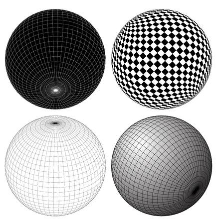 spherule: Gridded, wireframe spheres Illustration