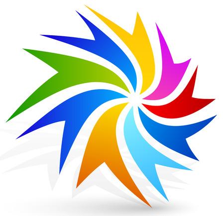 Colorful and vivid twisting emblem Illustration