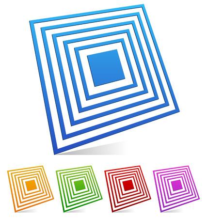 encircle: 3d Square emblem