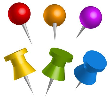 pushpins: Chinchetas de colores, chinchetas Vectores