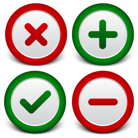 Checkmark, cross, plus, minus signs, symbols
