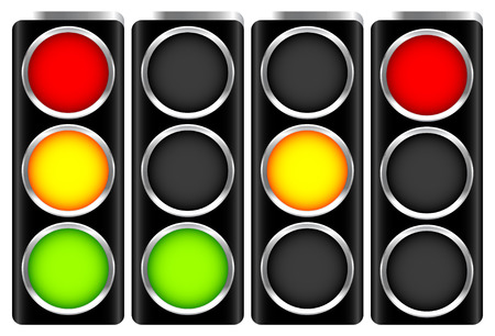 Traffic, control lights. Semaphores, traffic lamps. Vector
