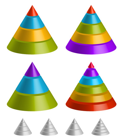 stacked: Pointed triangular shapes. Pyramid, triangle charts.