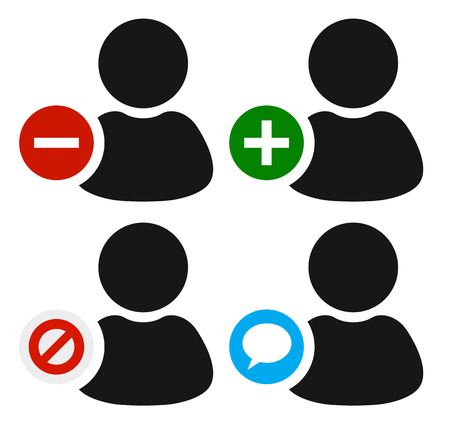 User icons. Remove, add, mute or ban and chat icons. Vector