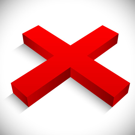 incorrect: Red X shape. Removal, incorrect, faliure, negativity concepts