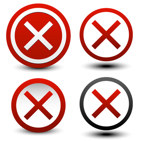 disapprove: Variety of delete, cancel, remove buttons Illustration