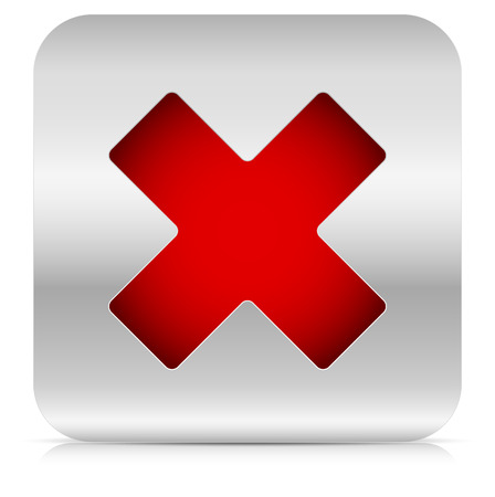 disapprove: Stylish remove, cancel or delete button on metallic background