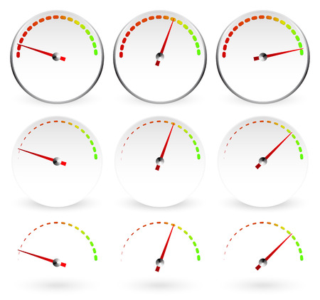 moderate: Different dials with red needles