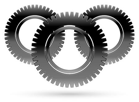 Black cogwheel, rack wheel, pinion , graphics Vector