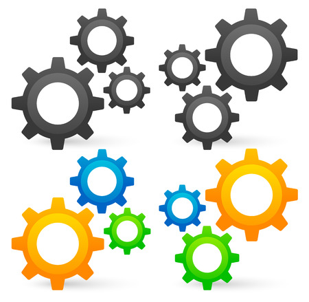 Cogwheel graphics. 2 Composition, colored, uncolored versions. Vector