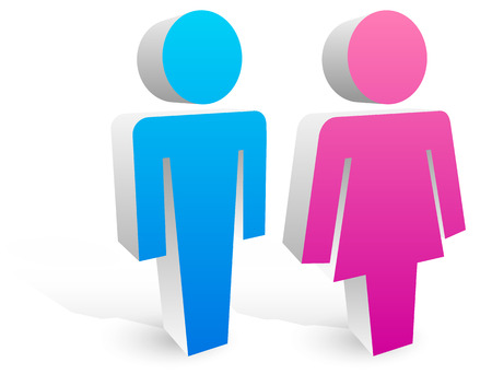 toilette: Male, female symbols Illustration