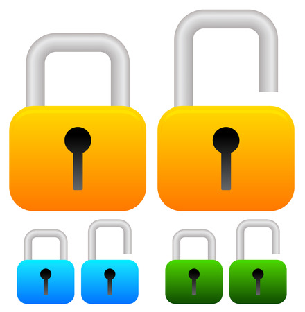 discretion: Locked, unlocked padlock icons in yellow, blue, green