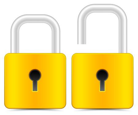 unlocked: Padlock icons, padlock graphics on white. vector. Illustration