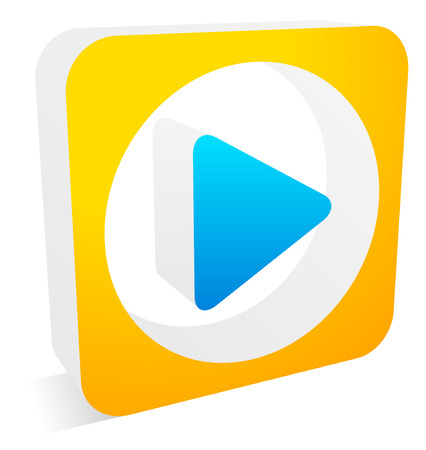 playback: Play button, arrow symbol in rectangle with shadow