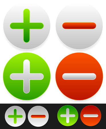 Bright icons with plus, minus signs.