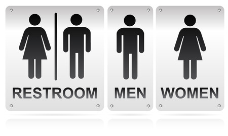 she: Restroom signs