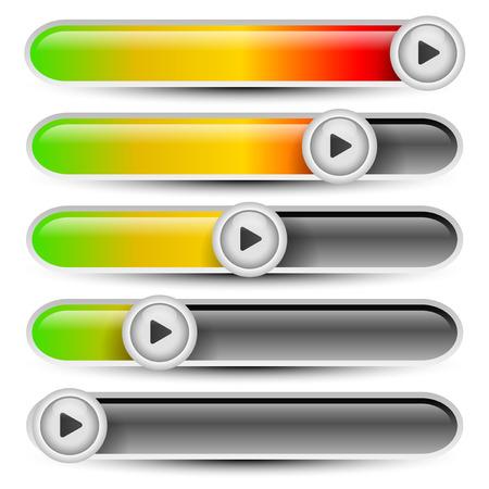 Horizontal progress bars. User interface elements, multimedia concept Illustration