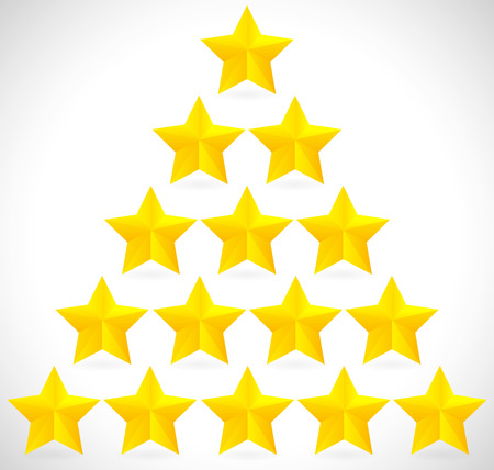 appraise: Golden stars in triangle, pyramidal formation Illustration